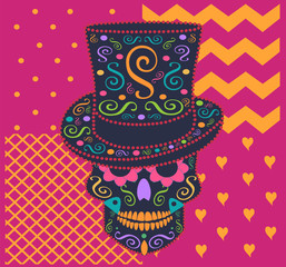 Skull vector with cylinder hat and zig-zag pink background