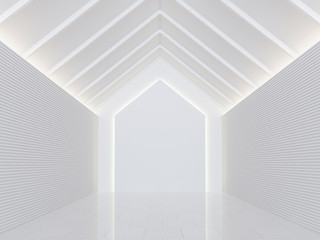 Empty white room modern space interior 3d rendering image.A blank wall with pure white. Decorate wall with horizon line pattern and hidden light