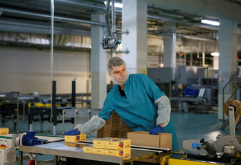 Employee works at the Roshen confectionery factory in Vinnytsia