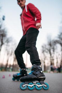 Male roller skater in skates, bottom view