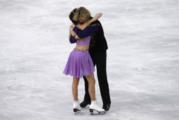 Meryl Davis and Charlie White after ice dance free dance program at Sochi 2014 Winter Olympics