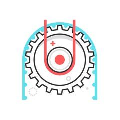 Color box icon, working cog illustration, icon