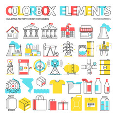 Color box icons, elements graphics.