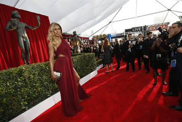 Actress Laverne Cox arrives at the 22nd Screen Actors Guild Awards in Los Angeles