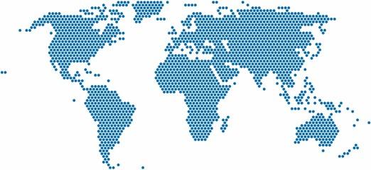 Spoed Foto op Canvas Wereldkaart Hexagon shape world map on white background, vector illustration.