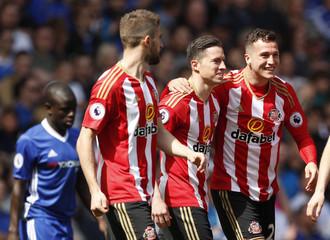 Sunderland's Javi Manquillo celebrates scoring their first goal