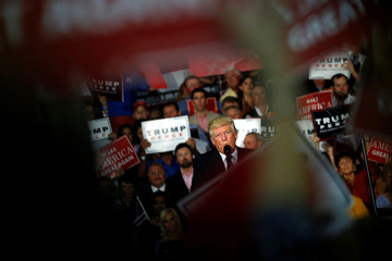 Trump holds a rally with supporters in Kenansville, North Carolina, U.S.