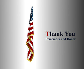 thank you remember and honor with american flag
