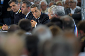 France's President Sarkozy presents his program for employment in Sainte Marguerite, Eastern France