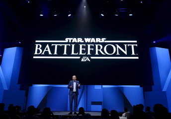 """Peter Moore, chief operating officer of Electronic Arts, introduces the new video game """"Star Wars Battlefront""""  during Electronic Arts media briefing before the opening day of the Electronic Entertainment Expo, or E3, at the Shrine Auditorium in Los Angele"""