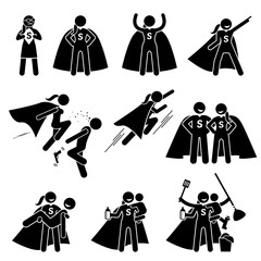 Superwoman Heroine Female Superhero. Cliparts depicts a superwoman in various poses and actions. She is also a busy supermom that can do housework and care for her family.