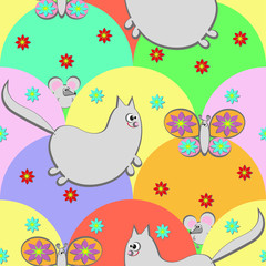 Seamless pattern with cartoon - funny cat and butterfly