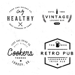 Badges in vintage style on pub and food theme.