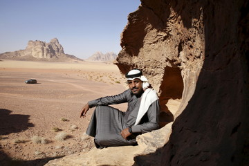 "Hassan Maraaiah, one of the cast members of Jordanian movie ""Theeb"" (Wolf), poses for a photo in Wadi Rum, Jordan"
