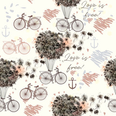 Fashion illustration or pattern with dandelions and retro bicycle. Summer love