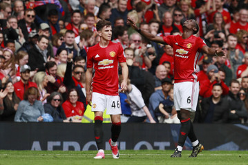 Manchester United's Paul Pogba celebrates scoring their second goal