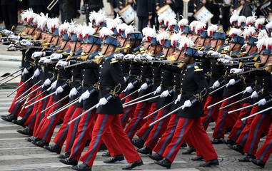 Students of the special military school of Saint-Cyr march during the traditional Bastille Day military parade on the Place de la Concorde in Paris