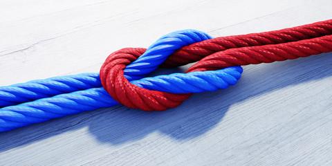 Kreuzknoten mit rotem und blauem Seil auf weißem Holz