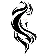 women long hair style icon, logo women face on white background