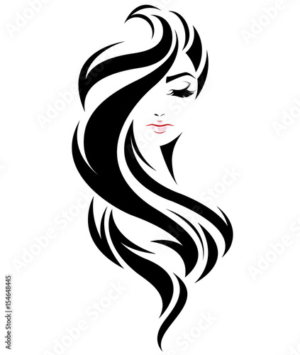 Women Long Hair Style Icon Logo Women Face On White Background