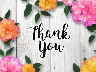 Thank You Card with Colorful Flower Border