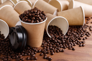 Coffee beans and coffee cups