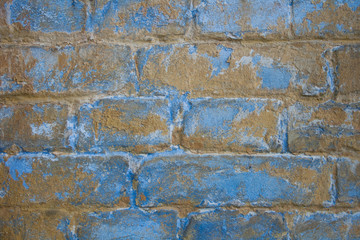 Brick old wall texture. Blue pattern background