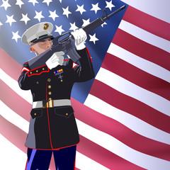 Memorial day. Soldier honor  patriots. Vector illustration