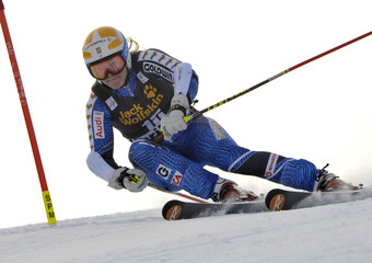 Lindell-Vikarby of Sweden  clears a gate during the first run of the World Cup Women's Giant Slalom race in Maribor