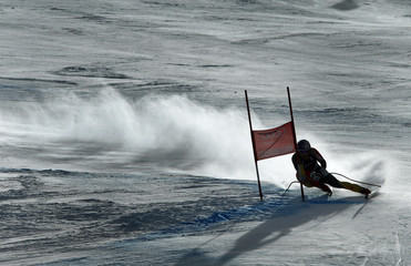 Erik Guay of Canda skis past a gate in the men's World Cup downhill ski race in Beaver Creek