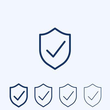 Vector shield with check mark line icon