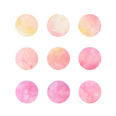 Hand drawn watrcolor circles of pink and yellow colors isolated on the white background