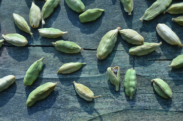 close up of green cardamom seed pods spice
