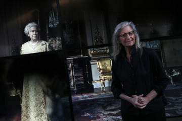 US photographer Leibovitz poses for a photograph during a press preview of her exhibition 'WOMEN: New Portraits' at Wapping Hydraulic Power Station in London