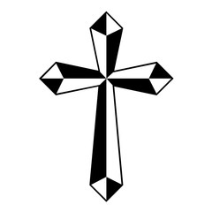 Cross tattoo tribal design. Isolated vector on white background.