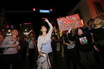 Protesters demonstrate against the election of Republican Donald Trump as President of the United States in New Orleans