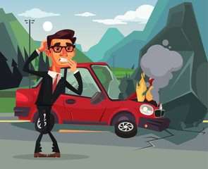 Car accident. Angry crying scaring victim businessman office worker character. Vector flat cartoon illustration