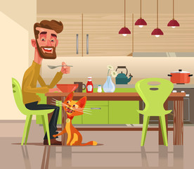 Funny happy cat character asks for food. Vector flat cartoon illustration