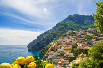 View of the town of Positano with lemons, italy