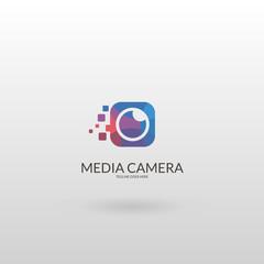 Media vision logo. Multicolored camera logo