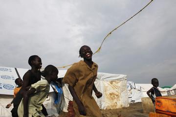Girls play in an IDP camp inside the U.N. base in Malakal