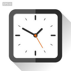 Square clock icon in flat style, timer on white background. Vector design element