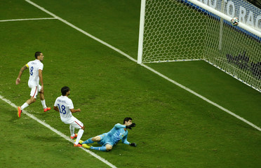 Chris Wondolowski of the U.S. misses a chance to score during their 2014 World Cup round of 16 game against Belgium at the Fonte Nova arena in Salvador