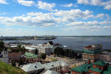 Панорама места слияния рек Оки и Волги, Нижний Новгород, Россия