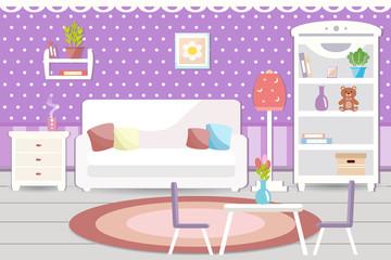 Living room interior. Vector illustration
