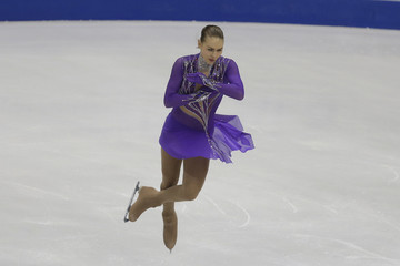 Kuchvalska of Latvia performs during the ladies short program at the ISU European Figure Skating Championship in Bratislava