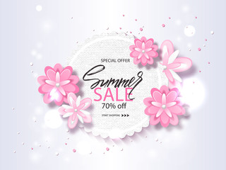 Summer sale banner, poster with beautiful flowers and handwriting lettering. Vector illustration EPS10.