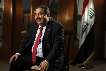 Iraq's Foreign Minister Hoshiyar Zebari speaks to Reuters during an interview in Baghdad