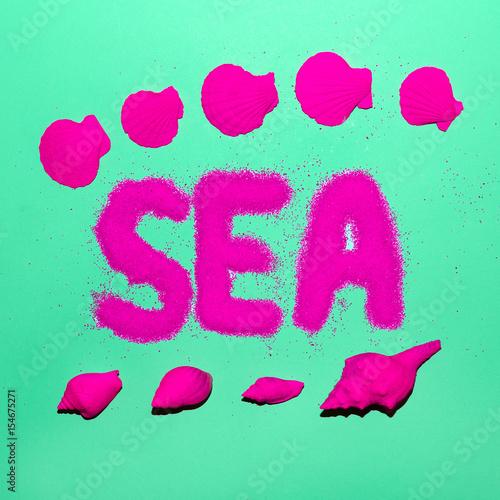Sea style shells minimal art neon beach stock photo and for Minimal art neon