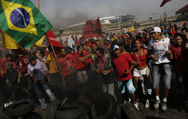 MTST members protest against the World Cup in Sao Paulo